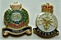 2 X BRITISH ARMY ENAMEL PIN BADGES UK VETERAN ARMED FORCES AND ROYAL ENGINEERS