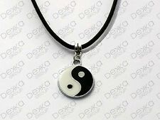 Yin Yang Necklace Silver White Black Leather String Cord Ying Yang Charm Pendant