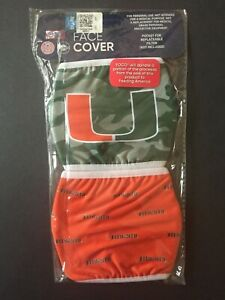 Miami Hurricanes Officially Licensed 2 Pk Adult Face Mask Qty Discounts FREE S&H