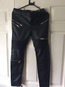 Zara Woman Leather Zip Punk Rock Goth Jeans 8
