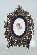 Exclusive Black forest wood carved portrait painting on porcelain plaque frame
