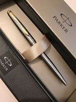 PARKER GALAXY STAINLESS STEEL GOLD TRIM BALLPOINT PEN-BLACK INK-GIFT BOX