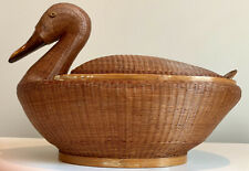 Vintage Wicker Wood Duck Figural Basket With Lid