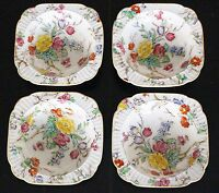 "BOOTHS China BOWLS 4 Square Tapestry Floral Pattern ENGLAND 5.5"" Antique"