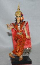 Vintage Hindu Red Silk Cloth Dancing Doll Figure