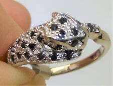 Sapphire Diamond Panther Ring 925 Sterling Silver  Leopard Cat O