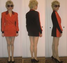 AUTHENTIC ESCADA DESIGNER BLACK/ RED DRESS JACKET GOLD military BUTTONS 36  4  S