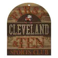 "CLEVELAND BROWNS ELF 1ST & TEN SPORTS CLUB WOOD SIGN 10""X11"" BRAND NEW WINCRAFT"