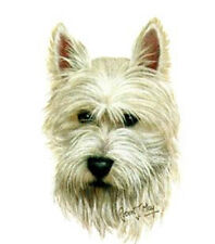 West Highland (WESTIE) Dog Head- Twelve Identical 6 inch Fabric Squares to Quilt