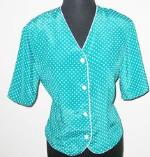 "Notations Green Dots Woman Button Front Short Sleeve 38"" Bust Shirt Blouse"