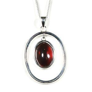 Silver / Garnet Pendant and Chain (Victoriana)