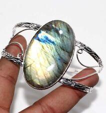 Plated Adjustable Bangle Jewelry Gw Fiery Labradorite 925 Sterling Silver