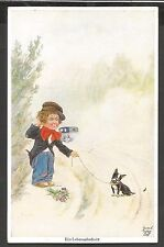 Dogs, Bulldog, French Bulldog Alone on the Road with a Boy, S: Bert,Old Postcard