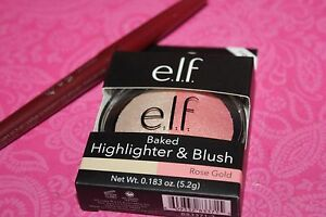 e.l.f. Elf Baked Highlighter & Blush #83371 Rose Gold 0.183 Oz. + FREE LIP LINER