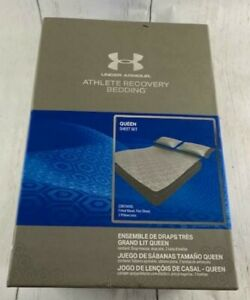 Under Armour Athlete Recovery Bedding Queen Sheet Set Gray 1325129 094 NEW RARE