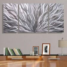 Abstract Silver 3 Panel Metal Wall Art Accent - Contemporary Decor by Jon Allen