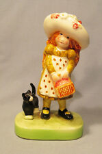Holly Hobbie 1971 Red-Haired Girl with Picnic Basket & Black Cat Figurine