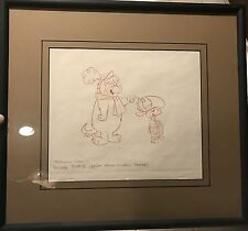 Rare Touche Turtle Early Production Drawing Cel Hanna Barbera - Framed