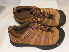 KEEN Youth 37 US 4 UK 3 Brown Leather Pink Mesh Hike Loafers Bungee Lace