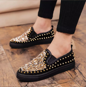 Men's Glitter Pull On Loafers Leisure Sequin Studded Platform Shoes Clubwear