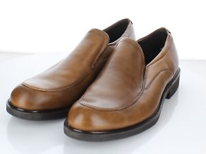 12-39  NEW Men's Sz 42 EU Ecco Slip On Leather Loafers In Brown