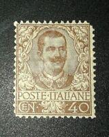REGNO 1901 floreale 40 cent nuovo mnh cat. 3.000 euro