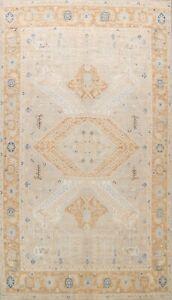 Geometric Khotan Oriental Area Rug Vegetable Dye Hand-Knotted Wool Carpet 9x12