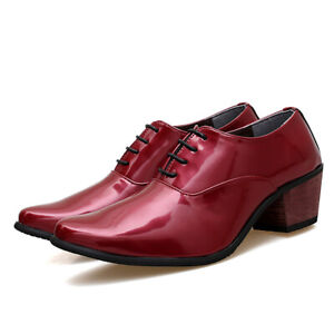 Mens Pointed toe Patent Leather Cuban Heel Lace up Formal Dress Oxfords Shoes SZ