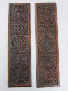 BEAUTIFUL PR VINTAGE CARVED WOODEN DOOR FINGER PLATES reclaimed antique