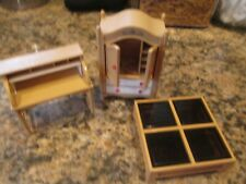 3 Pieces ~ Vintage Tomy  Doll House Furniture ~ Roll Top Desk, Wardrobe & Table