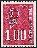 """FRANCE STAMP TIMBRE YVERT N° 1895 """" MARIANNE 1F ROUGE NON DENTELE """" NEUF xx LUXE"""