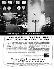 1961 Space Launch Texas Instruments Silicon Transistors retro photo print ad L27