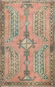 Vintage Authentic Oushak Turkish Geometric Oriental Area Rug Handmade Wool 2'x3'