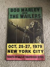 Bob Marley & The Wailers Wood Ticket Sign - October 25-27 1979 New York City