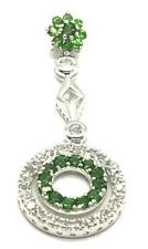 Sterling Silver 925 Green Peridot CZ Flower Double Circle Elegant Dangle Pendant