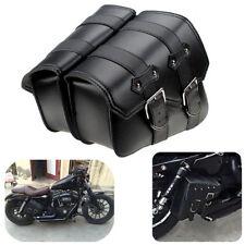 2x Moto Cuero Sintético Lateral Alforja para Harley Sportster XL 883/1200 Nuevo