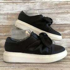 a28b1b4201a Shellys London 8.5M Edgar Black Slip On Flat Sneaker Bow Detail Platform  Loafers