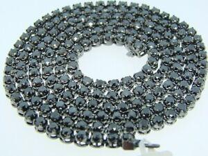 "36Ct Sim Diamond Unisex Tennis Necklace 34"" 14K Black Rhodium Gold Plated Silver"