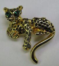 Vintage Gold Tone Little Leopard Brooch - Emerald-Green Marquise Rhinestone Eyes