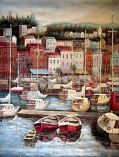 Stretched Quality Hand Painted Oil Painting Villas and Docking Boats 36x48in