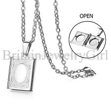"""22"""" Openable Book Photo Square Locket Pendant Living Memory Charm Necklace Gift"""