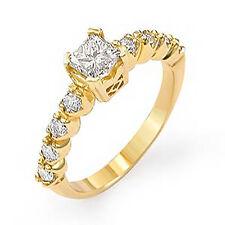 1.05 Ct Princess Solitaire Round G Diamond Engagement Ring 14k Gold Yellow SZ 7