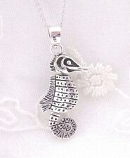 Seahorse Pendant Necklace 925 Sterling Silver Fashion Jewelry NEW Nautical