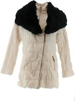 Dennis Basso Ruched Jacket Detachable Faux Fur Collar Warm Ivory S NEW A285576