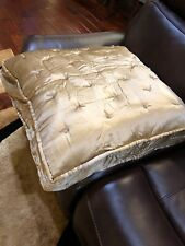 "Fino Lino Silk Euro Sham Charmeuse 26x26"" NWT Suede Gold Color Pillow $325 MSRP"