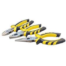 3 x Yellow Black Heavy Duty Pliers Set Soft Grip Handle Tools Plier Steel