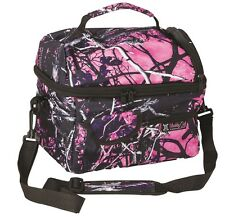 Muddy Girl Camo Insulated Cooler Lunch Box Bag, Moonshine Pink Purple Camouflage