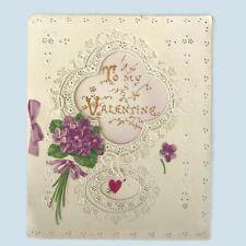 "Vintage Cutwork Paper Lace German Dresden Embossed To My Valentine Card 5-1/4"""