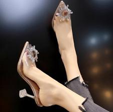 Women Sexy Pumps Transparent Rhinestone High Heels Pointed Toe Shoes Wedding US8