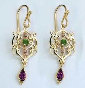 E104 Genuine 9K or 18K Gold Natural Amethyst Emerald Suffragette Drop Earrings